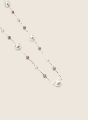 Long Pearl & Bead Necklace, Purple,  necklace, long, pearls, beads, faceted, metallic, spring summer 2020
