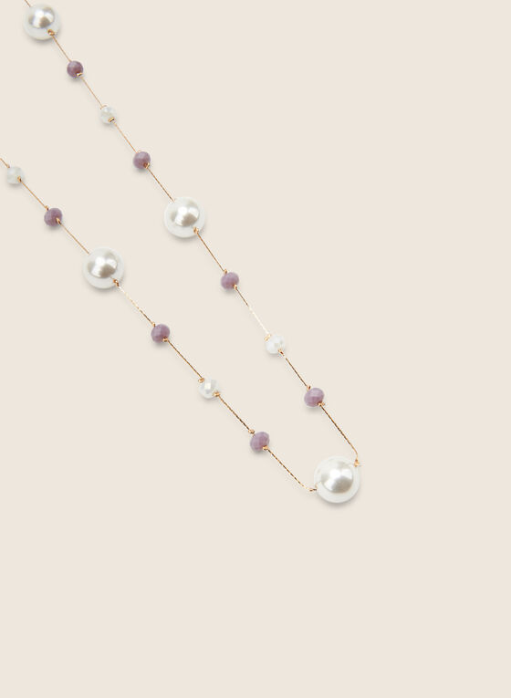 Collier long à perles et billes, Violet