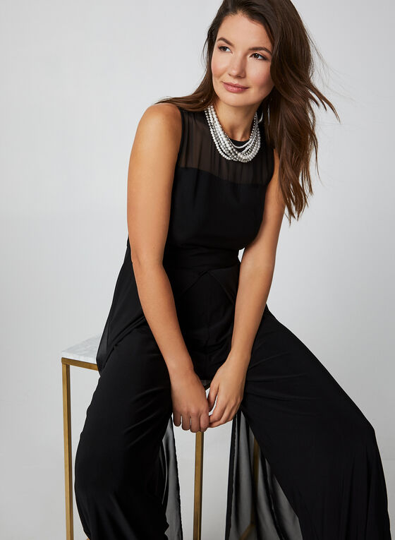 Sleeveless Chiffon Jumpsuit, Black, hi-res