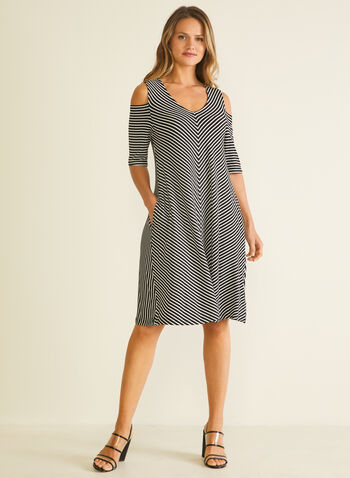 Nina Leonard - Stripe Print Cold Shoulder Dress, Black,  day dress, striped, elbow sleeves, cold shoulder, trapeze, chevron, v-neck, spring summer 2020