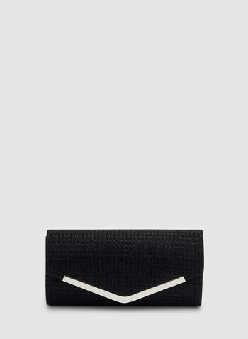 Envelope Clutch, Black,  textured, glitter, metallic detail, handheld, fall 2019, winter 2019
