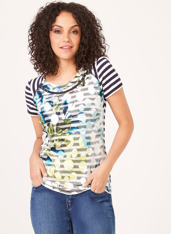 Vex – Leaf Print Mesh Overlay Striped Top, Blue, hi-res