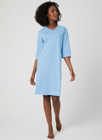 Bellina - Star Print Nightgown, Blue, hi-res