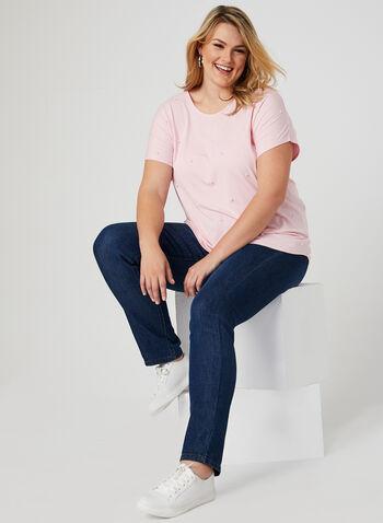 T-shirt à détails perles, Rose, hi-res