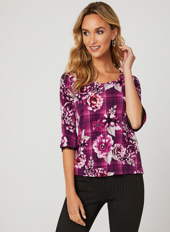 Floral Print ¾ Sleeve Blouse, Multi, hi-res