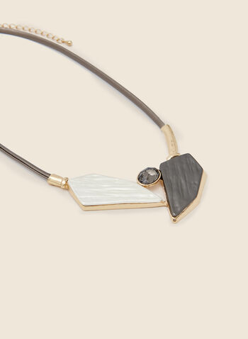 Geometric Stone Necklace, Grey,  necklace, short, cord, geometric, stone, resin, faceted, oval, fall winter 2020