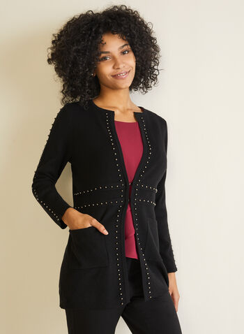 Stud Detail Cardigan, Black,  cardigan, stud, long sleeves, pockets, tunic, fall winter 2020