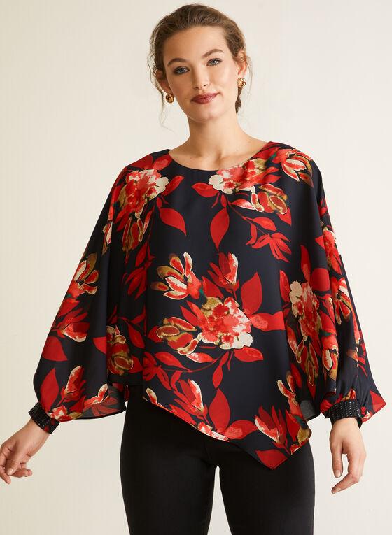 Floral Print Poncho Blouse, Black