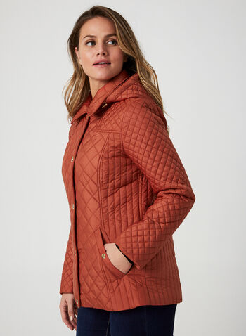 Anne Klein - Diamond Quilted Coat, Orange, hi-res,  fall winter 2019, Anne Klein, quilted, gold details