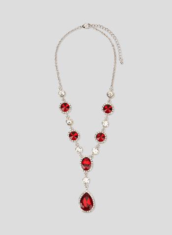 Faceted Crystal Dangle Necklace, Red, hi-res