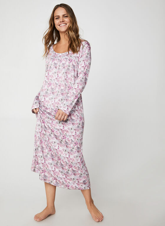 Bellina - Maxi Rose Print Nightgown, Pink