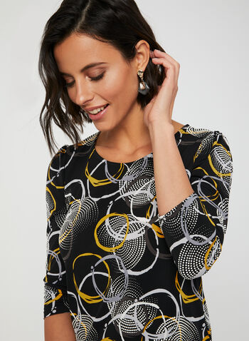Geometric Print Top, Black, hi-res,  jersey, puff print, circle print, fall 2019, winter 2019, ¾ sleeves, 3/4 sleeves,