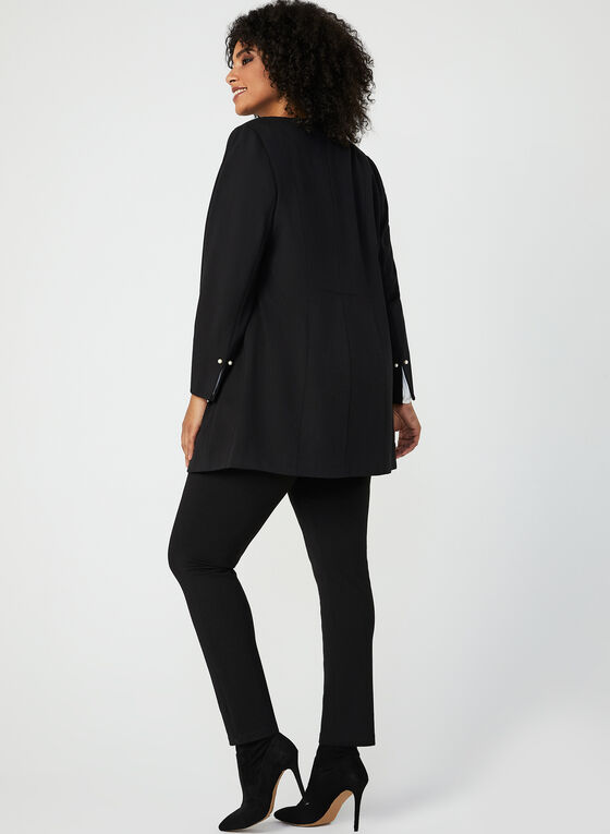 Pearl Embellished Duster Jacket, Black, hi-res