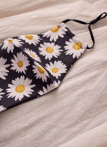 Daisy Print Mask With Filters, Yellow,  floral, floral print, floral motif, spring summer 2021, mask, fabric mask, cloth mask, cotton mask, reusable mask, adjustable straps, printed, machine washable, accessories, face mask, daisy print, daisy motif, filters, cotton
