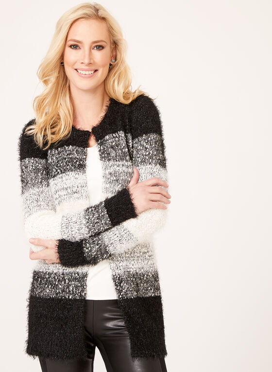Colour Block Tunic Cardigan, Black, hi-res