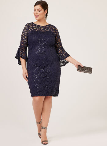 Marina - Sequin Lace ¾ Bell Sleeve Dress, Blue, hi-res