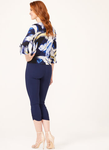 Floral Print ¾ Sleeve Top, Blue, hi-res