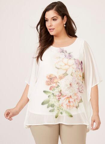 Floral Print Mesh Poncho Blouse, Multi, hi-res