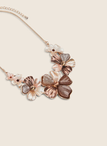 Resin Flower Necklace, Brown,  necklace, flower, golden, resin, multicolour, spring summer 2020