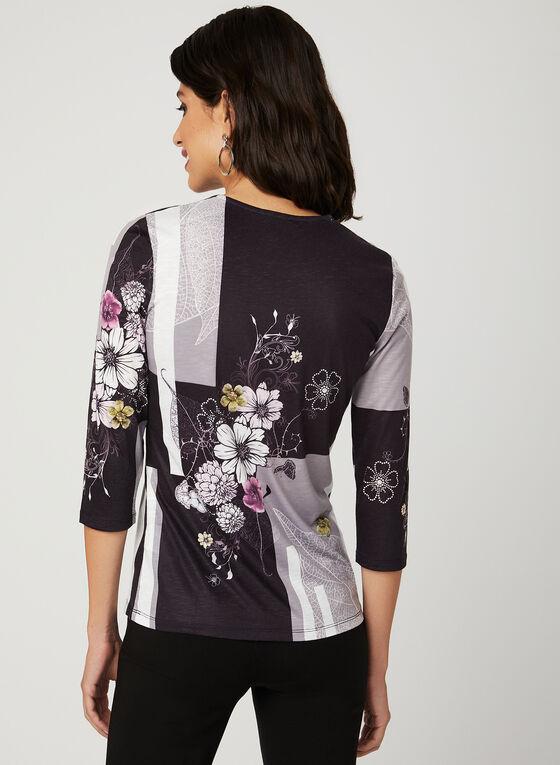 T-shirt floral et blocs de couleurs avec strass, Noir, hi-res