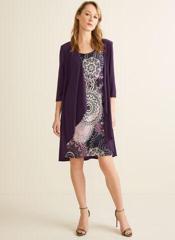 Ensemble robe motif médaillon et cardigan, Violet,  robe de jour, cardigan, jersey, médaillon, collier, printemps été 2020