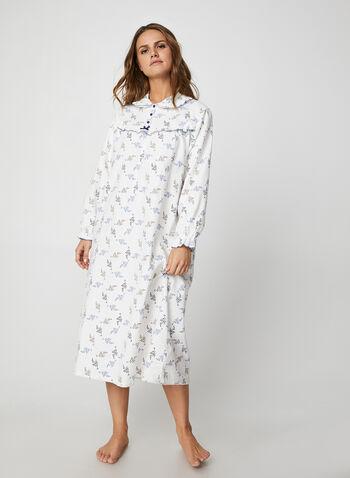 Karmilla Lingerie - Leaf Print Nightshirt, White,  Karmilla Lingerie, sleepwear, pyjama, nightshirt, leaf print, long sleeves, fall 2019, winter 2019