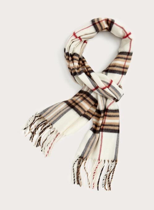 Foulard écharpe à carreaux et franges, Brun, hi-res