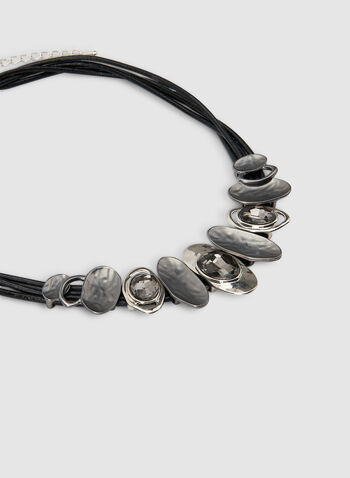 Oval Pendant String Necklace, Grey, hi-res,  short necklace, stone necklace, modern necklace