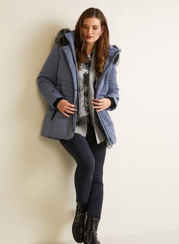 Manteau matelassé en duvet végane, Bleu,  automne hiver 2020, manteau, manteau d'hiver, duvet, capuchon, fausse fourrure, poches, matelassé, iridescent, végane, poches