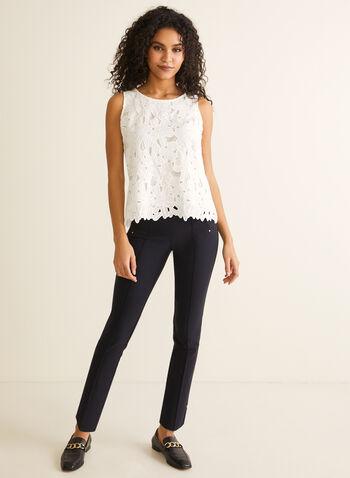 City Fit Slim Leg Pants, Blue,  pants, city, slim leg, bengaline, stretchy, ankle, rivets, slits, pull-on, pleats, spring summer 2020