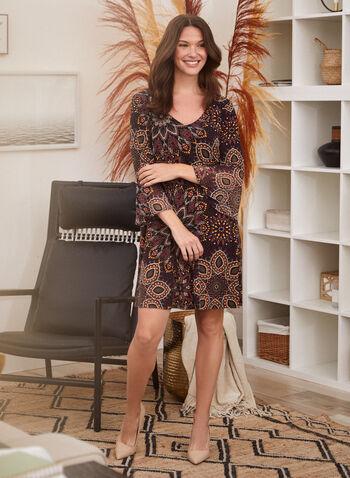 Paisley Print ¾ Sleeve Dress, Black,  day dress, paisley, 3/4 sleeves, chiffon, fall winter 2020, ¾ sleeve