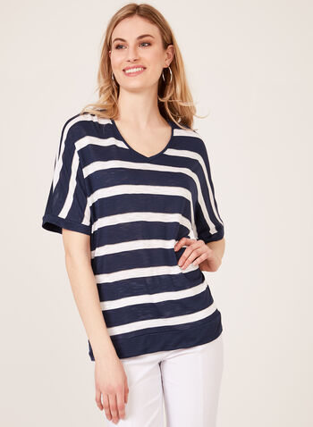 Metallic Stripe Print T-Shirt, Blue, hi-res