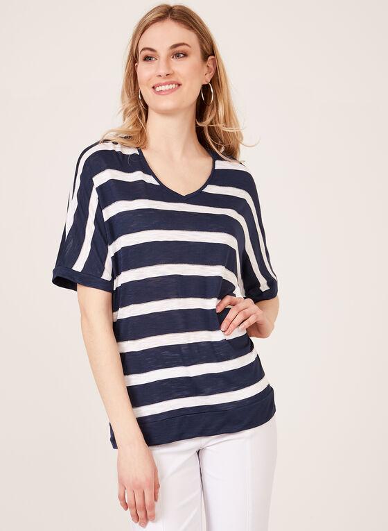 Metallic Stripe Print T-Shirt, Blue, hi-res