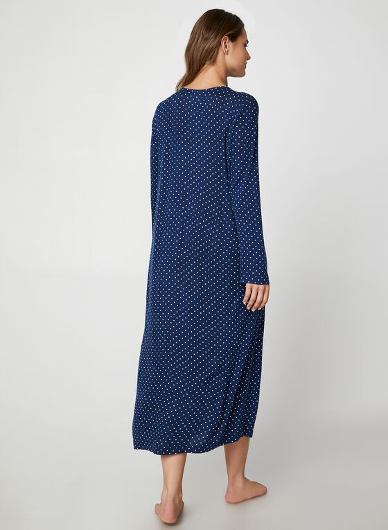 Bellina - Maxi Polka Dot Print Nightgown, Blue
