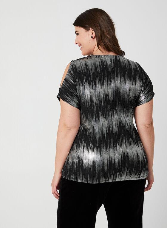Cold Shoulder Metallic Top, Black