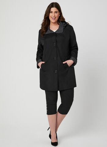 Fennelli - Hooded Raincoat, Black,  Spring 2019, rain coat, Polka Dot, hood