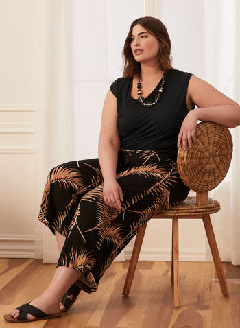 Pantalon gaucho motif tropical, Noir,  pantalon, capri, gaucho, pull-on, tropical, printemps été 2020