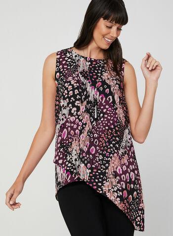 Blouse abstraite sans manches, Violet, hi-res,  blouse, sans manches, léopard, abstrait, crêpe, asymétrie, automne hiver 2019