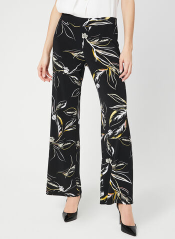 Modern Fit Wide Leg Pants, Black, hi-res,  pull-on, leaf print, stretchy, spring 2019