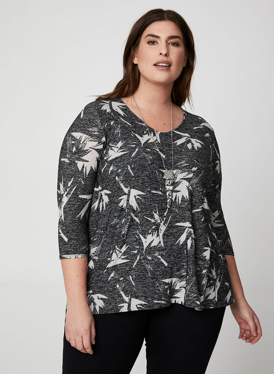 Tropical Print ¾ Sleeve Top, Black