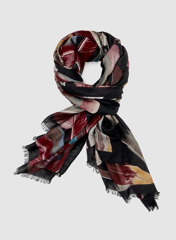 Foulard léger à motif plume, Noir, hi-res