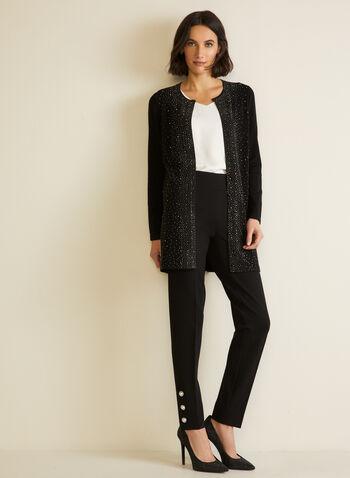 Pantalon à enfiler et détails perlés, Noir,  automne hiver 2020, jambe droite, perles, taille à enfiler, taille élastique, extensible, pinces