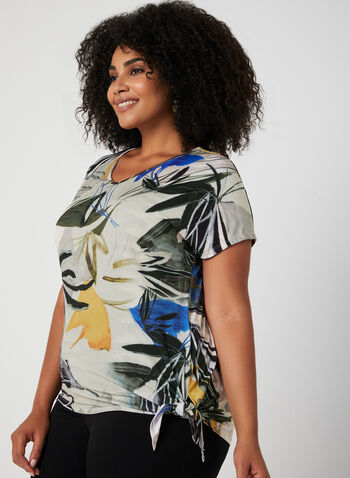 Abstract Leaf Print Top, Yellow, hi-res,  Canada, top, short sleeves, leaf print, jersey, V-neck, drop shoulder, side tie, fall 2019, winter 2019