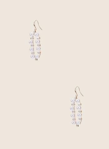 Pearl & Crystal Dangle Earrings, Off White,  earrings, pearls, crystals, golden, dangle, rectangle, jewellery, accessories, spring summer 2020