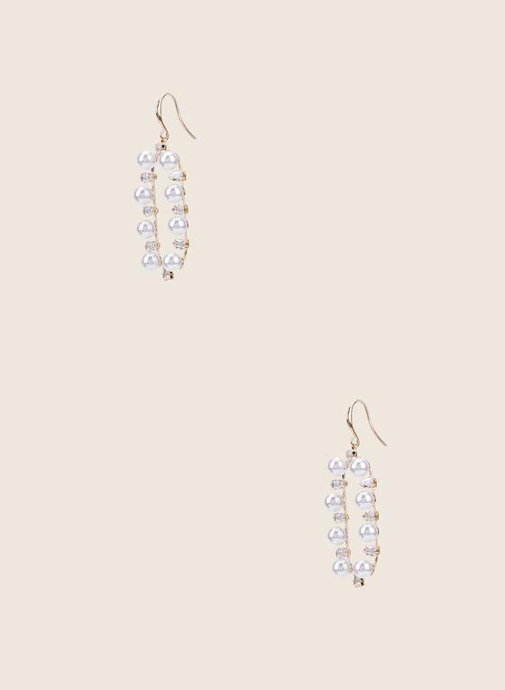 Boucles d'oreilles ajourées à perles, Blanc cassé