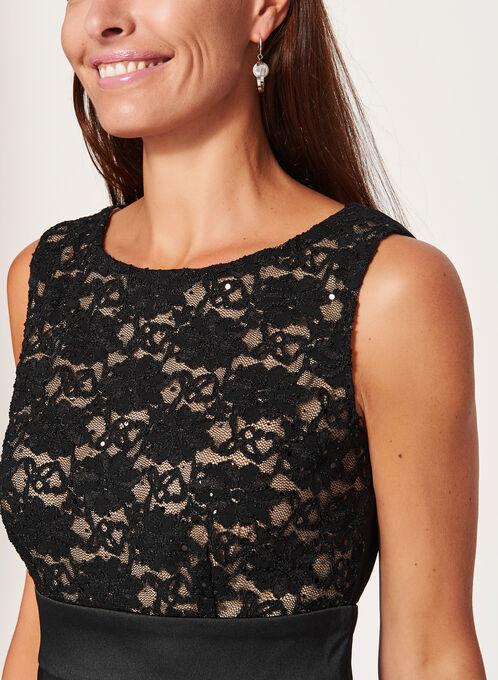 Sequin Lace Tiered Dress, Black, hi-res
