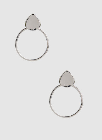 Tiered Hoop Earrings, Silver,  hoop earrings, teardrop earrings
