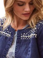 Pearl Embellished Jean Jacket, Blue