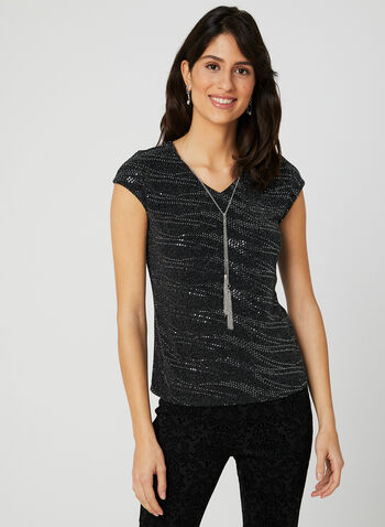 Metallic Accents Cap Sleeve Top, Black, hi-res
