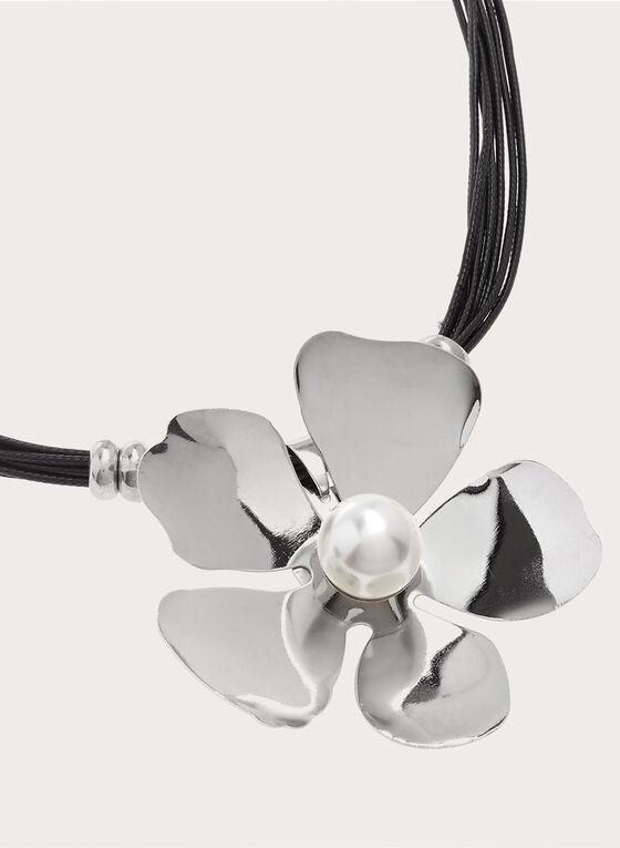 Collier ras-du-cou à fleur et perle , Noir, hi-res